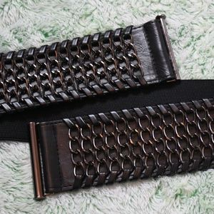 Betsey Johnson Black Vegan Leather & Chain Belt